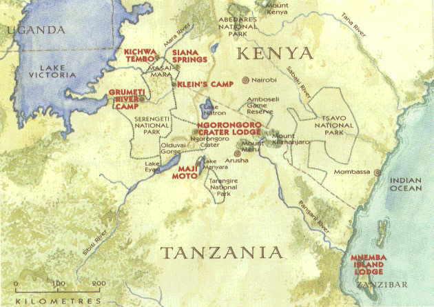 Map of Kenya and Tanzania Game Parks